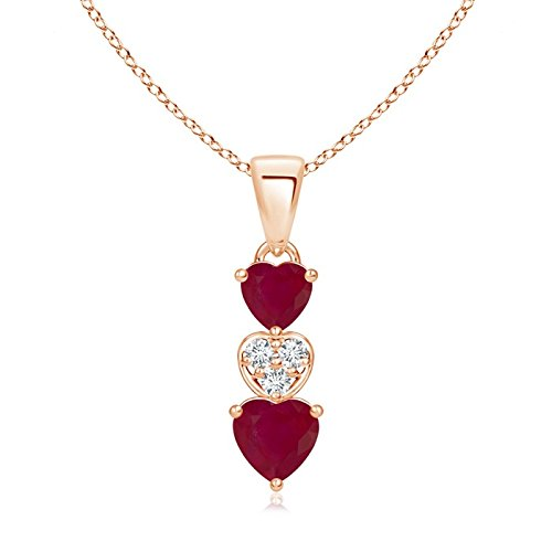 - Dangling Ruby and Diamond Triple Heart Pendant in 14K Rose Gold (5mm Ruby)