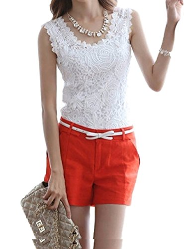 (ts-store Women's Lace Tank Top Crochet Lace Overlay Strap cami (L, White) Sleeveless Nosleeve Camisole Cocktail Party)