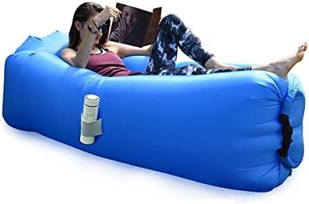 BACKTURE Opblaasbare ligstoel luchtbank met kussens draagbare opblaasbare bank luchtstoel voor kamperen vakantie wandelen donkerblauw