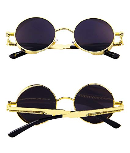 28a5d4968c6 Ronsou Steampunk Style Round Vintage Polarized Sunglasses Retro Eyewear  UV400 Protection Matel Frame