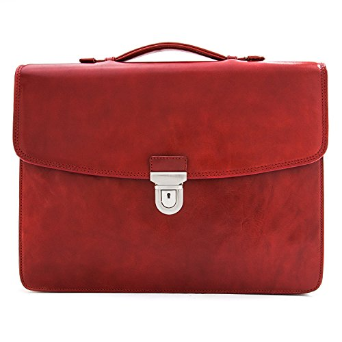 CUSTOM PERSONALIZED INITIALS ENGRAVING Tony Perotti Mens Italian Leather Alfero Single Compartment Document Briefcase in Red by Tony Perotti