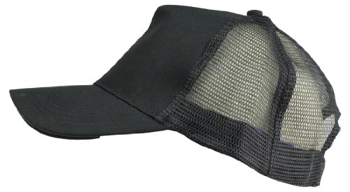 Plain Baseball Cap w/ Mesh Back Strong Cotton Twill Front in Black