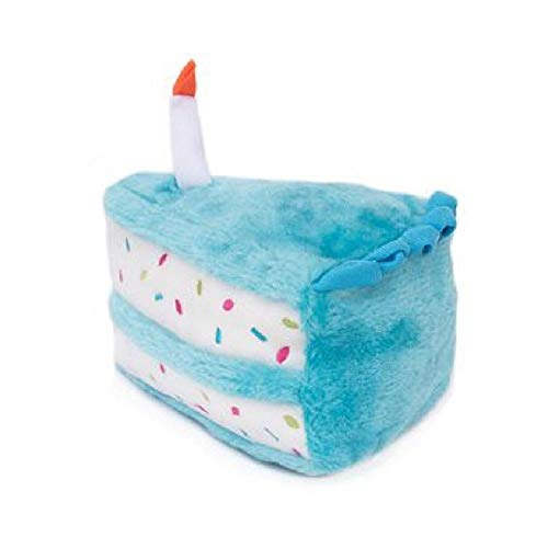 ZippyPaws - Birthday Cake Squeaky Dog Toy with Soft Stuffing - Blue (Best Pics Of Birthday Cakes)