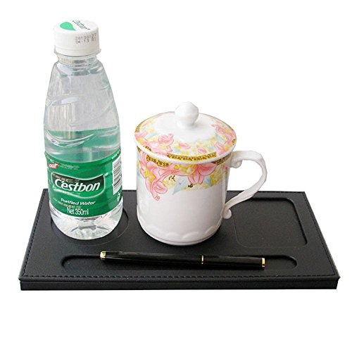lariy-fashion-glossy-pu-leather-cup-pad-cup-placemat-desk-mug-coaster-with-pen-holder3-slot-black
