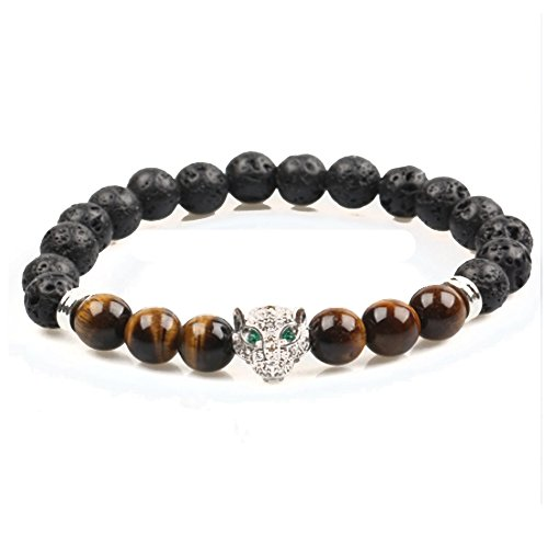 (Big Cat Rescue Genuine Lava and Tiger Eye Stone Beads Stretchy Elastic Bracelet with Jeweled Leopard Head Charm, 8mm, Unisex, for Friendship, Couples, Teens)