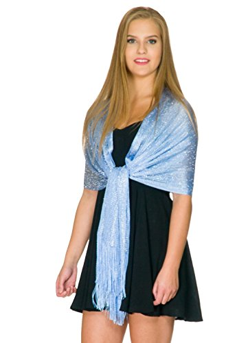 Shawls and Wraps for Evening Dresses, Wedding Shawl Wrap Fringes Scarf for Women Sky Blue by Petal Rose