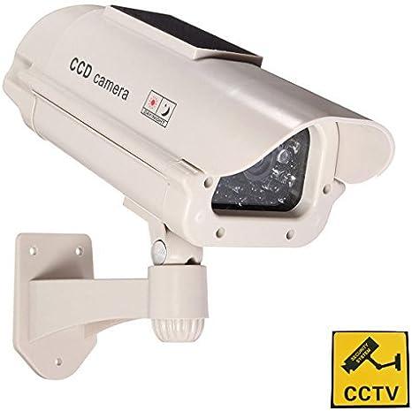 Phot-R 2x Solar Powered Outdoor Indoor Fake Imitation IR CCTV Blinking Red LED Flashing Light Surveillance Security Mini Speed Dummy Dome Camera I with Warning Sticker