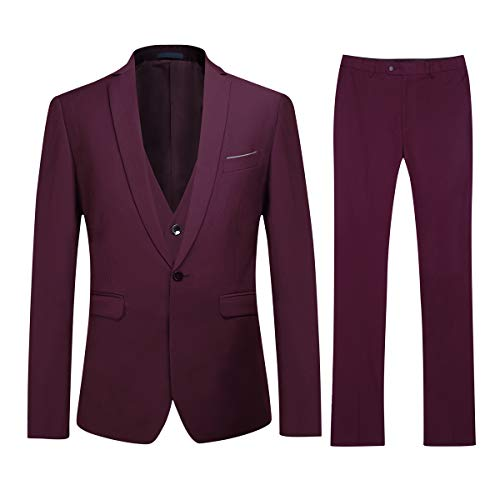 Men's Slim Fit 3 Piece Suit One Button Blazer Tux Vest & Trousers, Dark Red, -