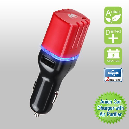 Cell Accessories For Less (TM) Car Charger Anion with Air Purifier Dual USB Output 3.1A - Black/Red for Samsung Flight 2 A927 Bundle (Stylus & Micro Cleaning Cloth) - By TheTargetBuys ()