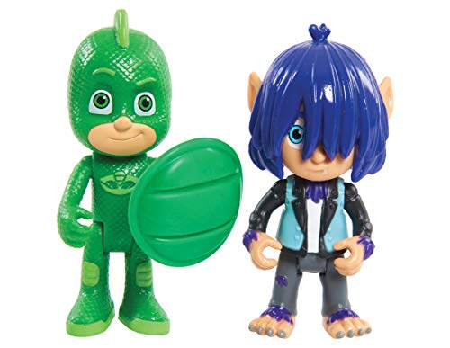 PJ Masks-95263 Pack 2 Figuras con Luz Y Villano Geo Y Wolfe Kevin, Color Verde (Bandai 95263)