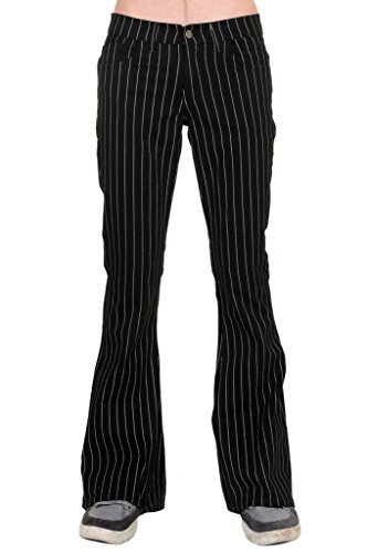 Mens Vintage Flared Jeans - Run & Fly Mens 60's 70's Retro Vintage Black White Pin Striped Stretch Bellbottom Super Flares 34R