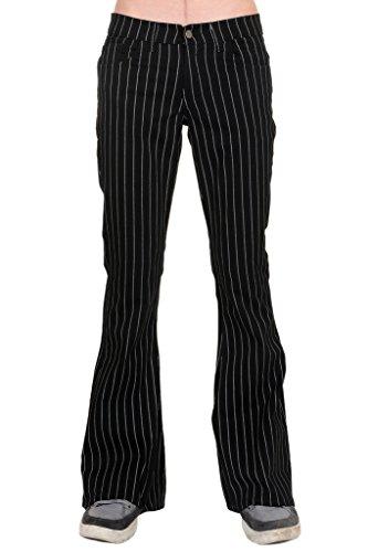 (Run & Fly Mens 60's 70's Retro Vintage Black White Pin Striped Stretch Bellbottom Super Flares 34L)