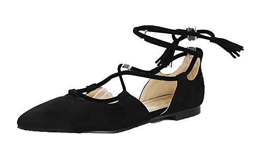 AgeeMi Shoes Damen Lace-Up Suede No-Heel Pumps Schuhe Schwarz