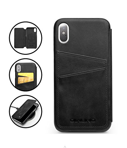 iPhone X Case, QIALINO Genuine Leather iPhone X Cover with Card Holder and Smart Flip, Slim Folio Phone Bumper Wallet Case for Apple iPhone X, Black