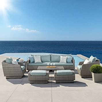 Alfonso 8 Piece Sofa And Club Chair Seating Group With Cushion Patio  Furniture Set In Spa