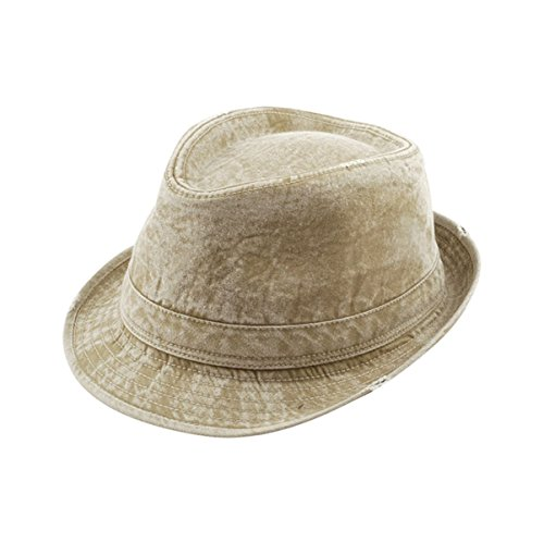 [Hats & Caps Shop Washed Fedora Hat W/Distressed Look - By TheTargetBuys | (KHAKI)] (Pork Pie Hat For Sale)