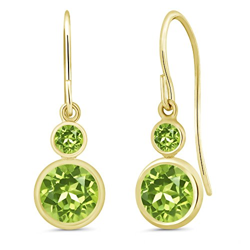 Gem Stone King 2.04 Ct Round Green Peridot 14K Yellow Gold Women's Earrings