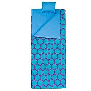 Wildkin Original Sleeping Bag, Features Matching Travel Pillow and Coordinating Storage Bag, Perfect for Sleeping On-the-Go – Big Dot Aqua