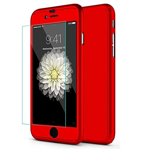 Aulzaju iPhone 6 Plus/6s Plus Full Body Case,iPhone 6 Plus Red Front Back Case with Tempered Screen Protector for iPhone 6s Plus Sleek Shockproof Cover