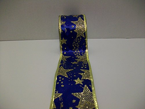 MJ's Crafts & More Shooting Star Pattern Ribbon Wired Edge Gift Wrapping, Christmas Ribbon 2-1/2