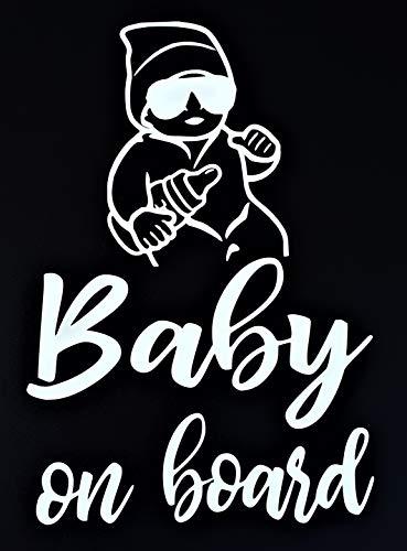 Baby On Board Aufkleber 20x14cm Auto Aufkleber Weiß Sticker Wasserfest Und Langlebig Baby On Board Aufkleber Auto Baby
