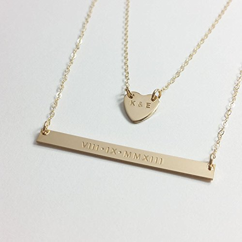 Anniversary Gift Set/Valentine's Day gift/Gift for her/Birthday gift for her/Date necklace/Roman numeral necklace/Initials necklace