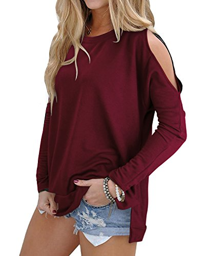 OUGES Women's Cutout Cold Shoulder Long Sleeve T-Shirt Tunic Top (Wine,M)