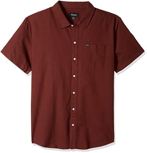 Brixton Men's Charter Standard Fit Short Sleeve Oxford Woven Shirt, Chestnut, XXL