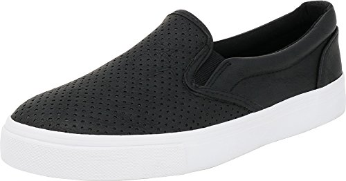 SODA IF14 Women's Perforated Slip On Elastic Panel Fashion Sneaker Black PU 7