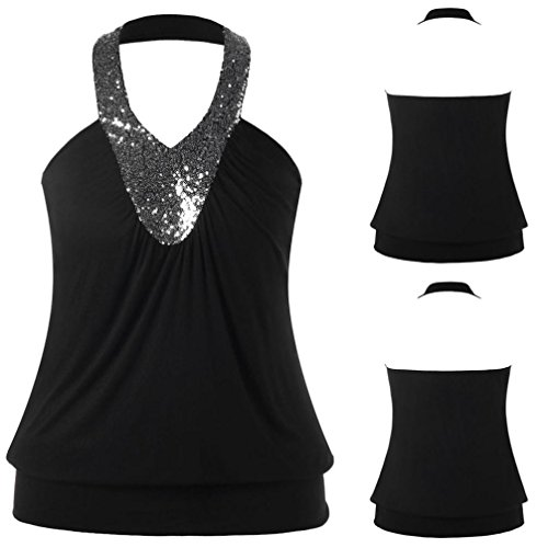 MOONHOUSE 2018 New ❤️❤️Women Summer Sexy Backless Open Back Sequins Sleeveless Loose T Shirt Vest❤️❤️ Casual Halter Tops Blouse Plus Size (XL, Black)