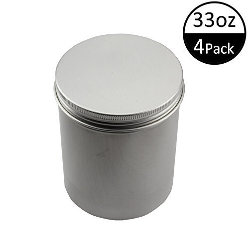 (TMO Aluminum Storage Boxes Metal Round Tin Cans Tall Aluminum Cans Container Tea Storage Container Food Tins Storage Container Screw Top Deep Tin Box Containers,Silver)