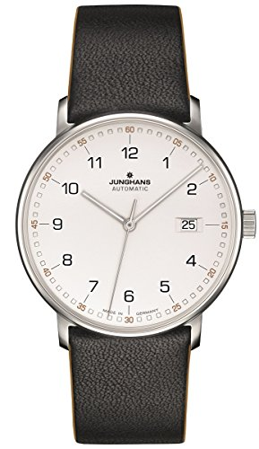 Junghans Watch Form A Automatic Matt Silver Dial Black Leather Strap 027/4731.00