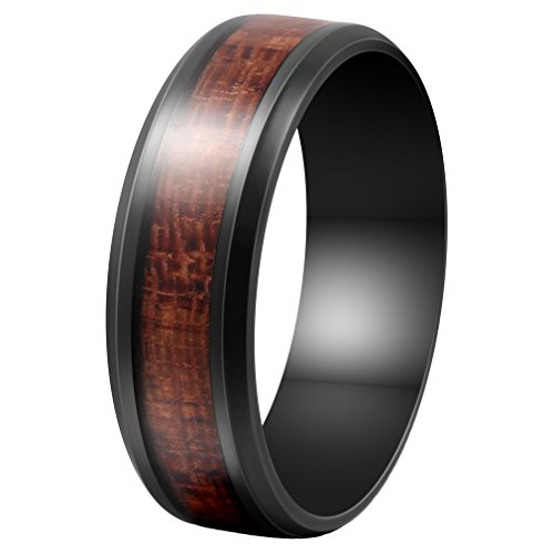 - Fashion Month Mens 8mm Black Stainless Steel Ring Vintage Wedding Engagement Promise Band KOA Wood Inlay Comfort Fit (9)