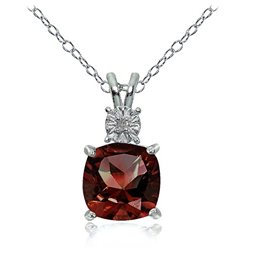 - Ice Gems Sterling Silver African Garnet Cushion-Cut Drop Necklace