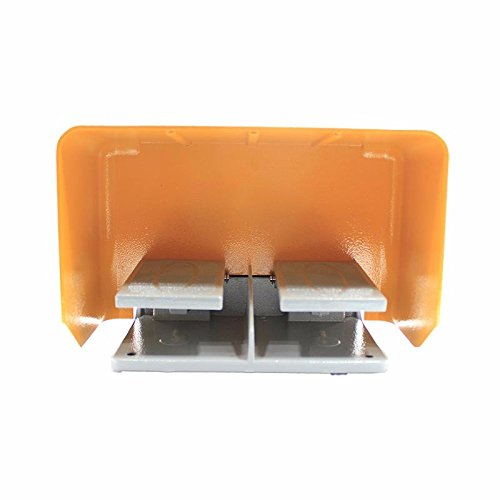 380V 10A Aluminum Double Pedal Foot Control Switch for Bending Machine Punch Medical Equipment YDT1-18, Orange