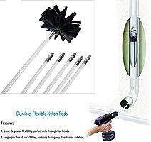 Zdmathe Kit de cepillo de chimenea y varillas el/éctricas Rotary Drill Drive herramienta de limpieza de barrido con varillas largas flexibles de 12 m