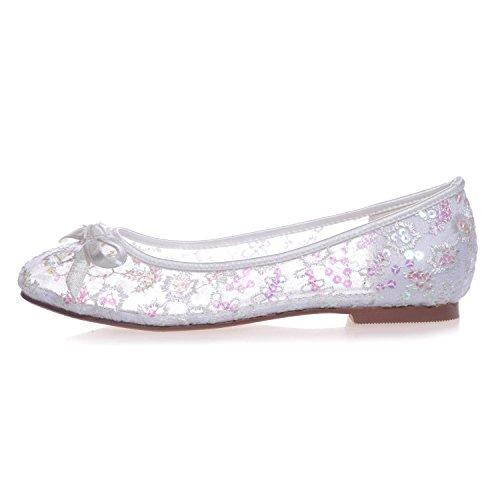 9872 Zapatos La Boda Cerrada Nupcial Mujer Redondos L 24 De Para White yc T1wxHZq5