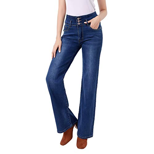 Flared Trousers Women High Waist Bootcut Jeans Straight Leg Stretch Denim Pants with Pockets
