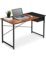 Computer Desk with Storage Drawer, QooWare 120cm Dual-Colored Study Writing Desk with Metal Frame, Modern Simple Wooden PC Desk for Home Office, Supports Up to 60 kg (Espresso & Black)