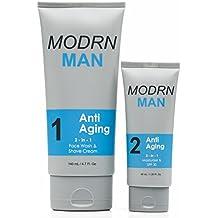 MODRN MAN Anti Aging System For Men, (1) World's 1st 2-in-1 Mens Daily Face Wash & Shaving Cream, (2) Premium 2-in-1 Mens Face Moisturizer & Sunscreen