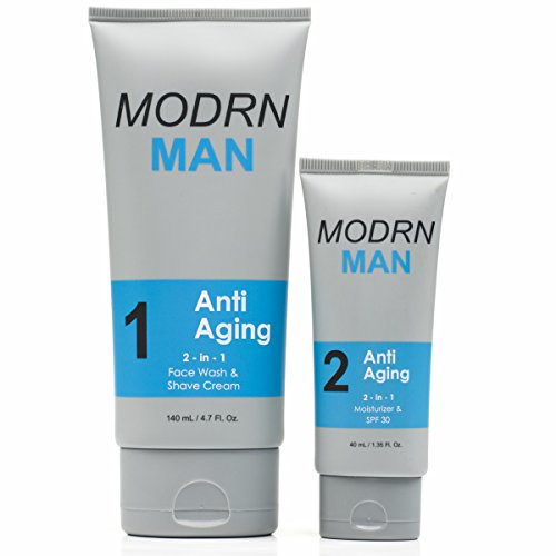 MODRN MAN Anti-Aging Skin Care Set For Men | Ultimate Combination Men's Face Wash & Shaving Cream | Premium All-in-One Men's Face Moisturizer with SPF