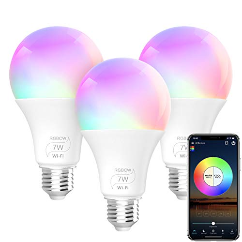 BERENNIS Smart Light Bulb, A19 E26 RGBCW Wi-Fi LED Bulb [7W 500LM] Dimmable Multicolored Lights, No Hub Required, Works with Amazon Alexa and Google Home (3 Pack) (Best Smart Bulbs For Google Home)