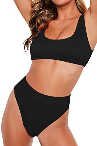 ALBIZIA Women's Rib High Waisted High Cut Cheeky Bikini Set Swimsuit S Black