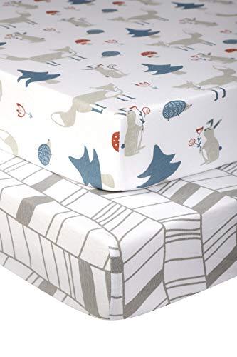 Pickle & Pumpkin Graco Pack n Play Mattress Sheet |100% Organic Jersey Cotton | Mini Crib Sheet 2 Pack | Fitted Crib Sheet for Portable Crib, Playard, Playpen, Pack and Play Mattress | Fox & Chevron ()