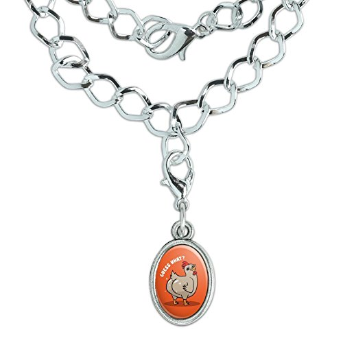 GRAPHICS & MORE Guess What Chicken Butt Funny Silver Plated Bracelet Antiqued Oval ()