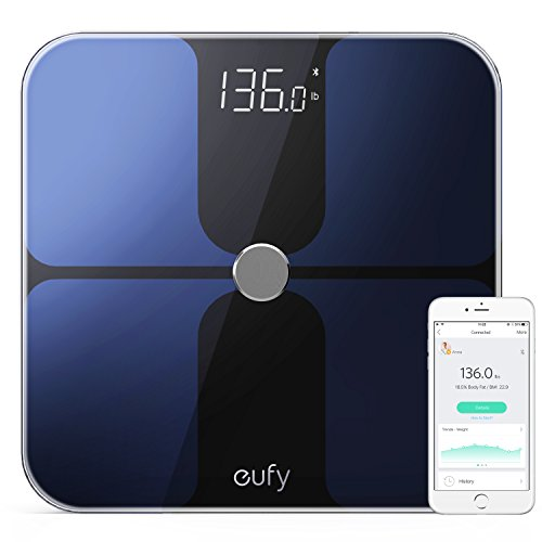 Eufy Bodysense Smart Scale With Bluetooth 4 0  Large Led Display  Weight Body Fat Bmi Fitness Body Composition Analysis  Auto On Off  Auto Zeroing  Tempered Glass Surface  Black White  Lbs Kg St Units