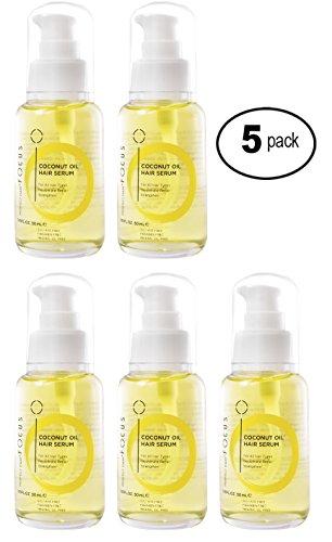 (Coconut & Olive Oil Hair Serum - Scalp Treatment for Damaged Hair Enhanced with Aloe Vera Juice - Anti Frizz Hair Moisturizer Hydrates & Adds Elasticity - 50ml (5 Pack))