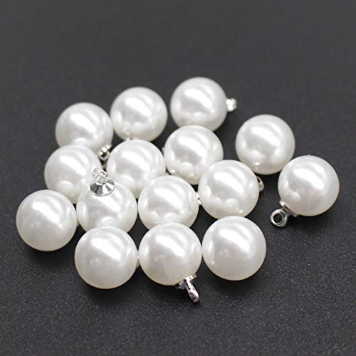 (YaHoGa 50pcs 10mm Pearl Buttons for Sewing Shirt Skirt Dress Sweater Crafts Bulk (with Metal Shank))