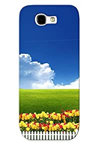 Podiumjiwrp Galaxy Note 2 Hybrid Tpu Case Cover Silicon Bumper Tulips Behind The White Picket Fence