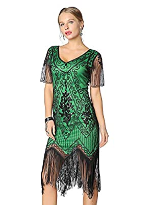 Metme Women's Roaring 1920s Gatsby Dresses Short Sleeve Black Dress Cocktail Flapper Dress